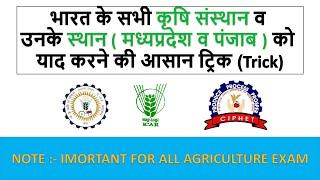 भारत के सभी कृषि संस्थान व  उनके स्थान ( मध्यप्रदेश ) को  याद करने की आसान ट्रिक (Trick)