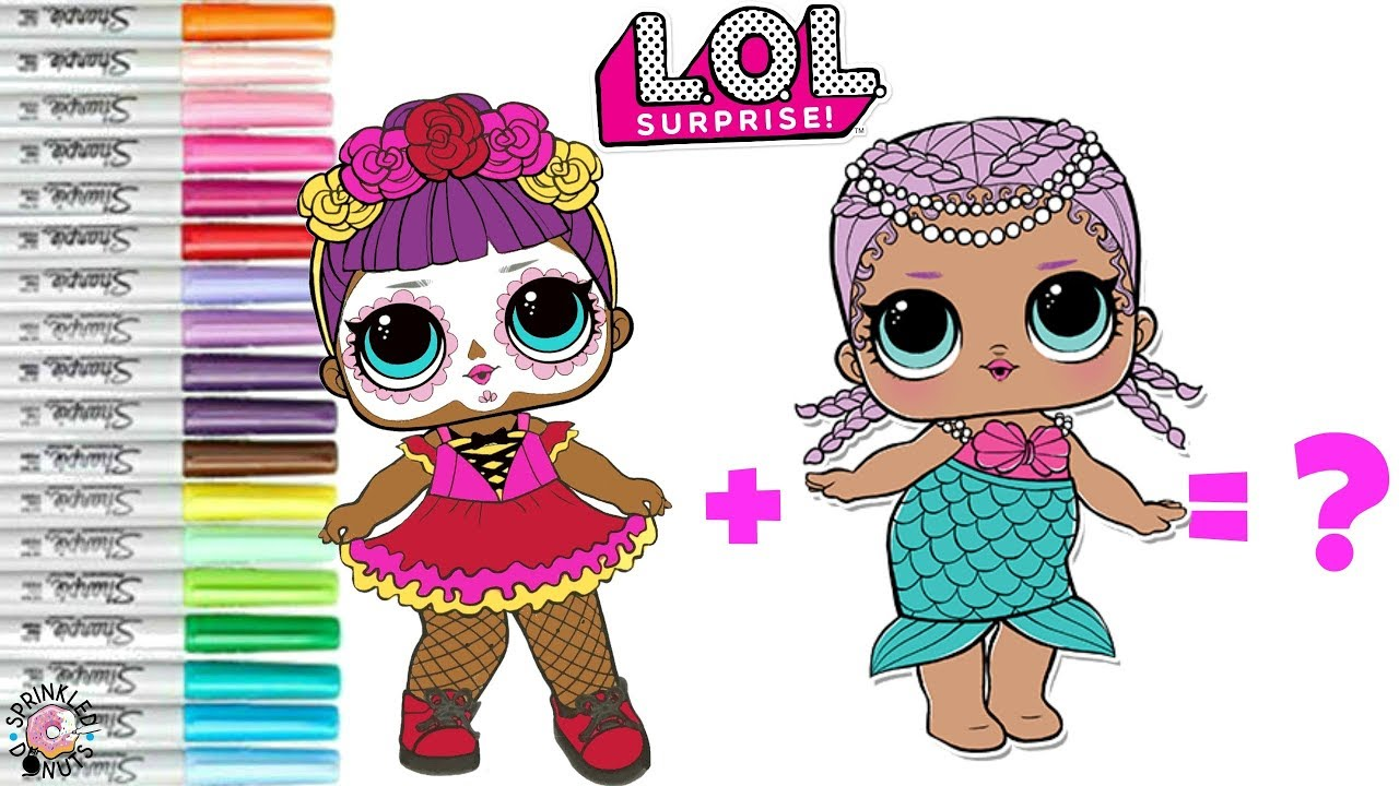 Lol surprise coloring book page mash up bebe bonita and merbaby become merbonita