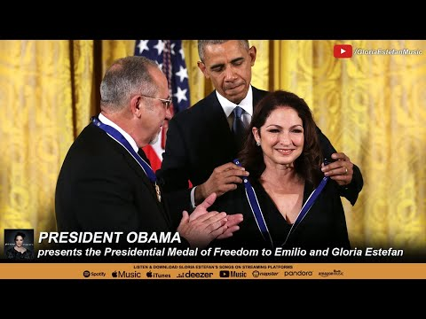 President Obama presents the Presidential Medal of Freedom to Emilio and Gloria Estefan