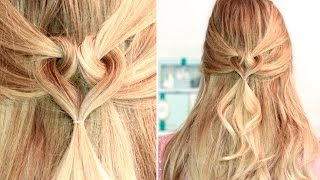 Heart hairstyle ❤ Medium long hair tutorial, eas/cute for party, date, everyday(Get my Glam Time clip-in hair extensions on http://www.GlamTimeHair.com to be able to recreate all my hairstyles for long hair. I talk about them in detail in ..., 2016-02-12T10:26:27.000Z)