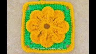 Цветок в квадрате. Вязание для начинающих. Квадратный мотив Урок 162  Flower in square crochet