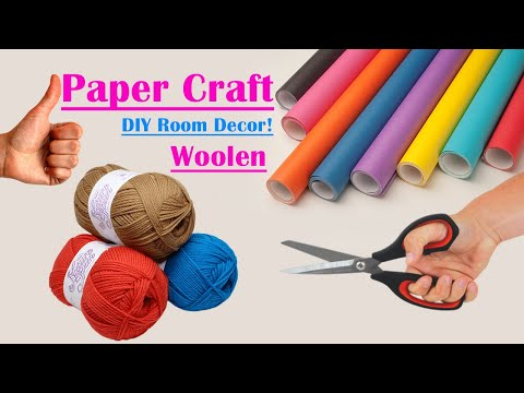 paper-crafts-wall-hangings-|-wall-hanging-craft-ideas-with-paper-and-wool-|-home-decorating-ideas