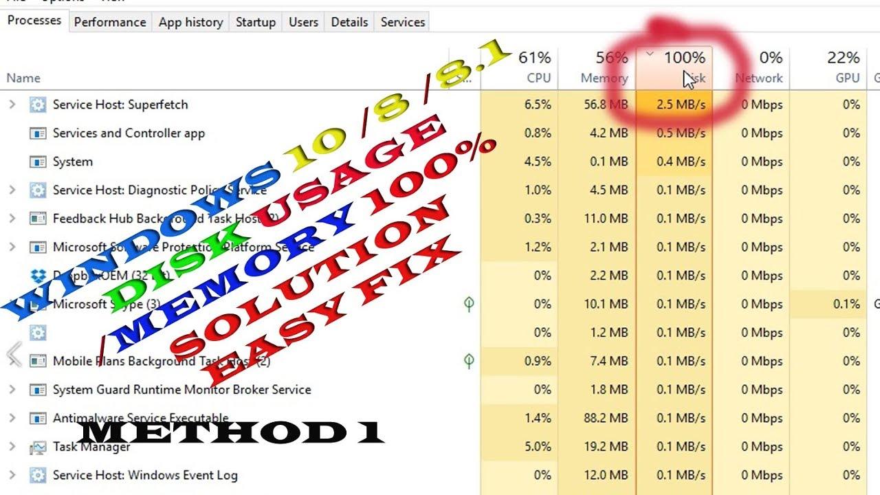 windows 10 100 disk memory usage