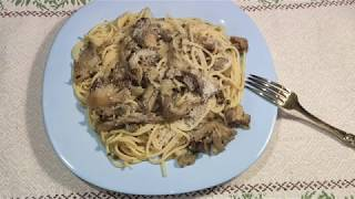 Спагетти с грибами вешенками