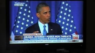 President Obama spoke briefly on Electronic Harassment