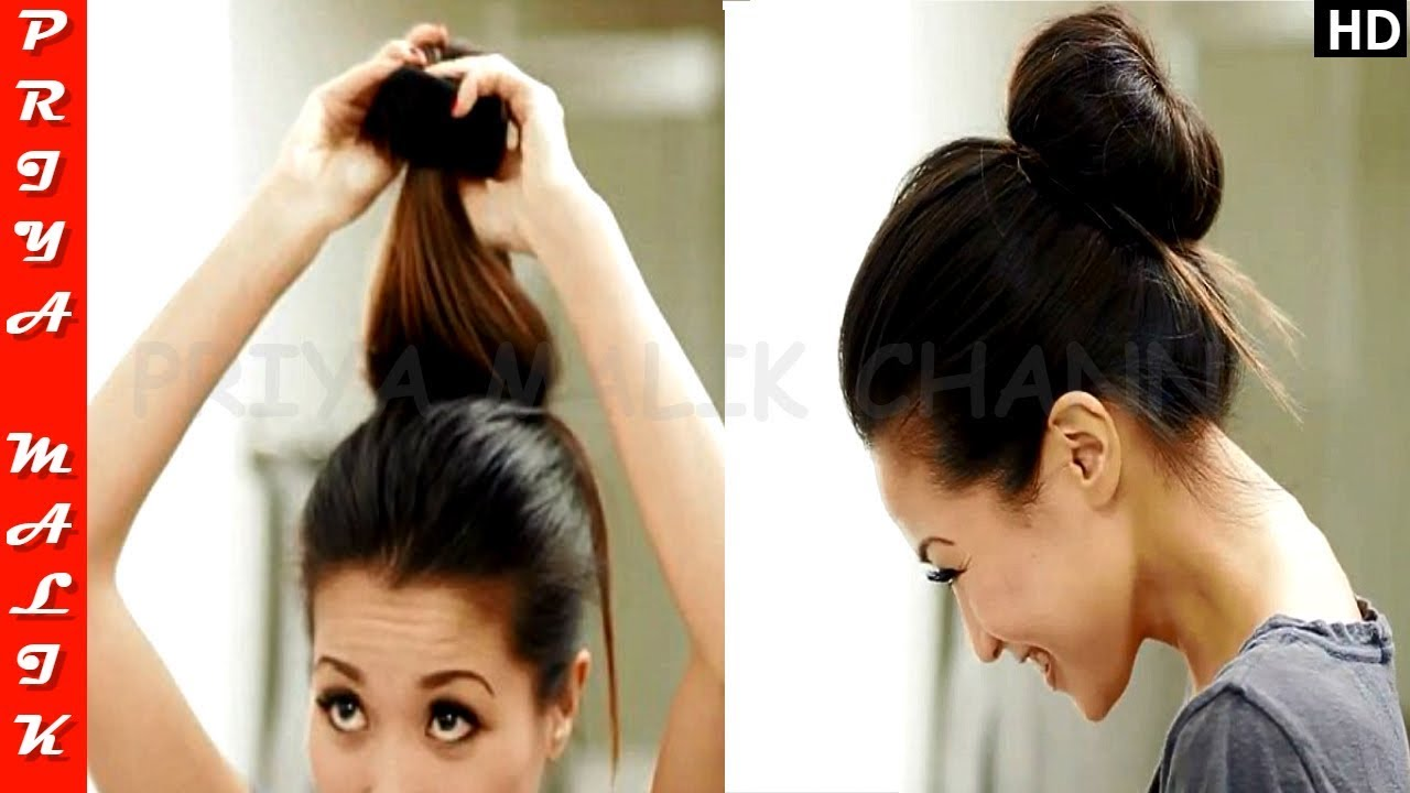 One Minute Hairstyle For Busy Mornings Easy Hair Bun Hairstyle