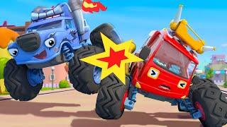 Trouble Maker in the Monster Car Race | Fire Truck | Nursery Rhymes | Kids Songs | BabyBus