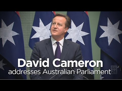 David Cameron addresses Australian parliament