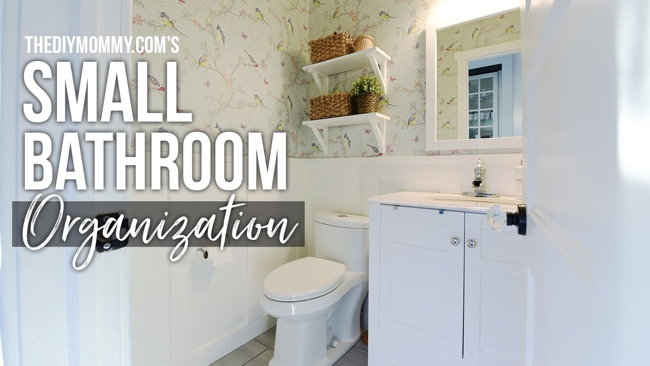 Organization DIY + Home Decor Challenge: Powder Room / Small Bathroom  Organization Ideas   YouTube