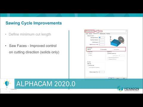 Improvements To Saw Cycle | ALPHACAM 2020.0
