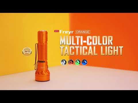 Senter Olight Freyr Orange Rechargeable White + Red + Green + Blue RGB