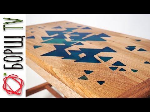 Деревянная мебель из дуба и эпоксидной смолы | Банкетка для игры