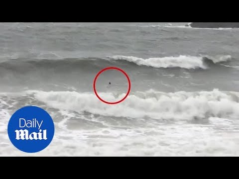 Swimmer Risks Life In Strong Waves Whipped Up By Storm Callum