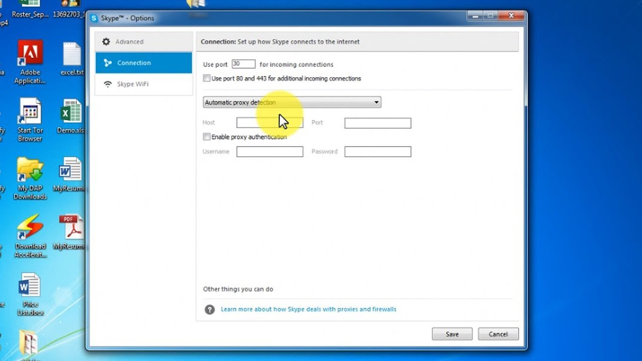 Proxy Settings for Skype - Fix Connection Ploblem to proxy server