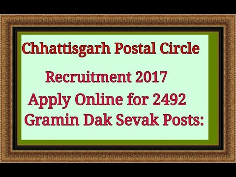 Chhattisgarh Postal Circle Recruitment 2017 – Apply Online for 2492 Gramin Dak Sevak Posts