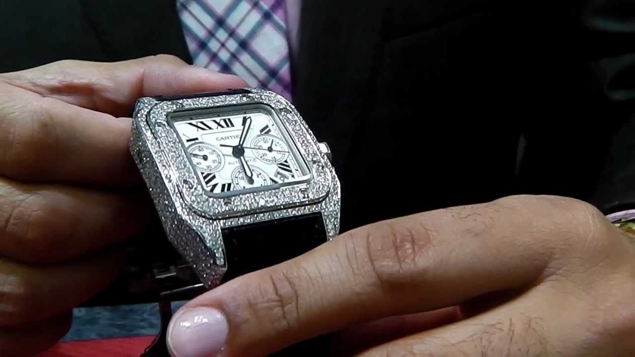 Custom Diamond Watch Chrono Xl Large Youtube