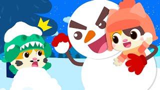 고양이가족 눈싸움 해요~!|눈사람동요|크리스마스동요|안전동요|키키묘묘구조대|색깔놀이|베이비버스 동요|BabyBus