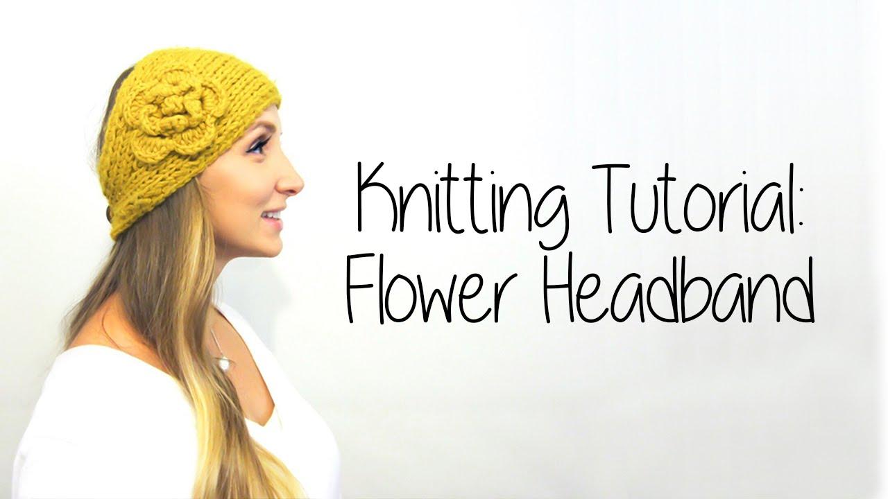KNITTING TUTORIAL - FLOWER HEADBAND Part 1 - YouTube