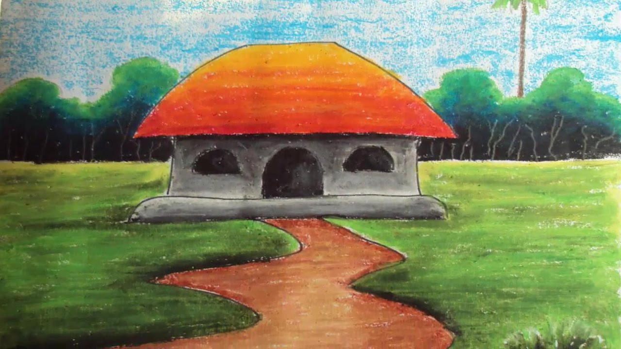 How to Draw a Village Landscape with Oil Pastels | Episode-4 - YouTube