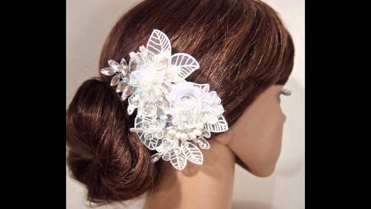 diy handmade shabby chic lace flower wedding bridal head piece