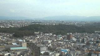 大阪府堺市の堺市役所21階展望ロビーで仁徳天皇陵古墳を見ました。