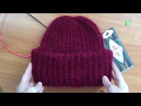 Вязание шапок мохера из спицами