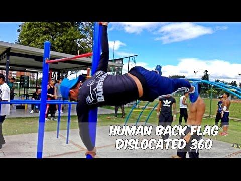 Human Back Flag\ Dislocation 360 Street Workout