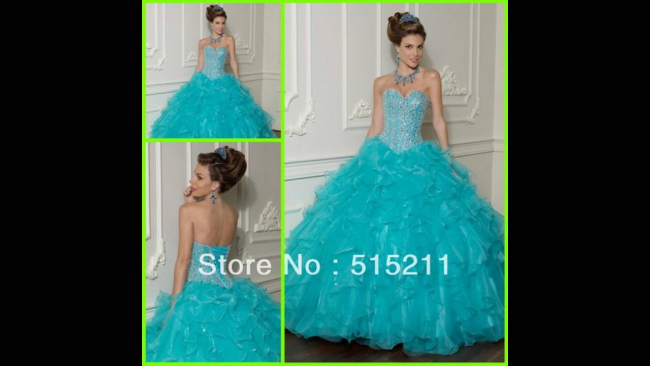 7d8379622 Imagenes de vestidos de 15 años color turquesa - YouTube