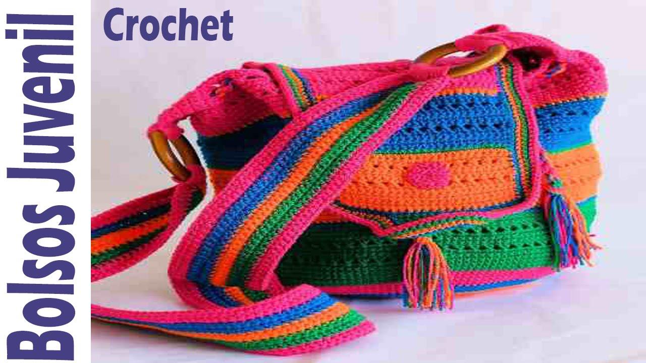 Bolsos juveniles tejidos en crochet ganchillo imagenes dise os youtube - Bolsos tejidos a ganchillo ...