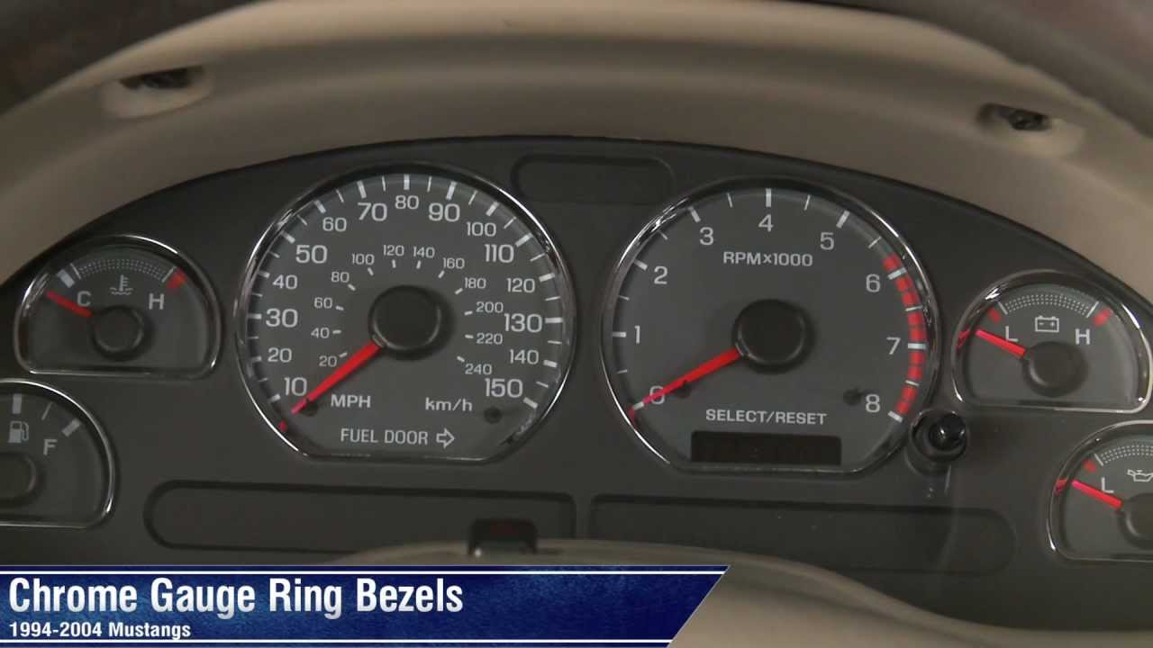 mustang chrome gauge ring bezels 94 04 all review [ 1280 x 720 Pixel ]