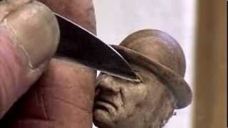 Wood Carving - Carving A Small Miniature Face - Eye Detail - Ian Norbury