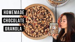 HOMEMADE CHOCOLATE GRANOLA - CÁCH LÀM NGŨ CỐC DINH DƯỠNG VỊ CHOCOLATE