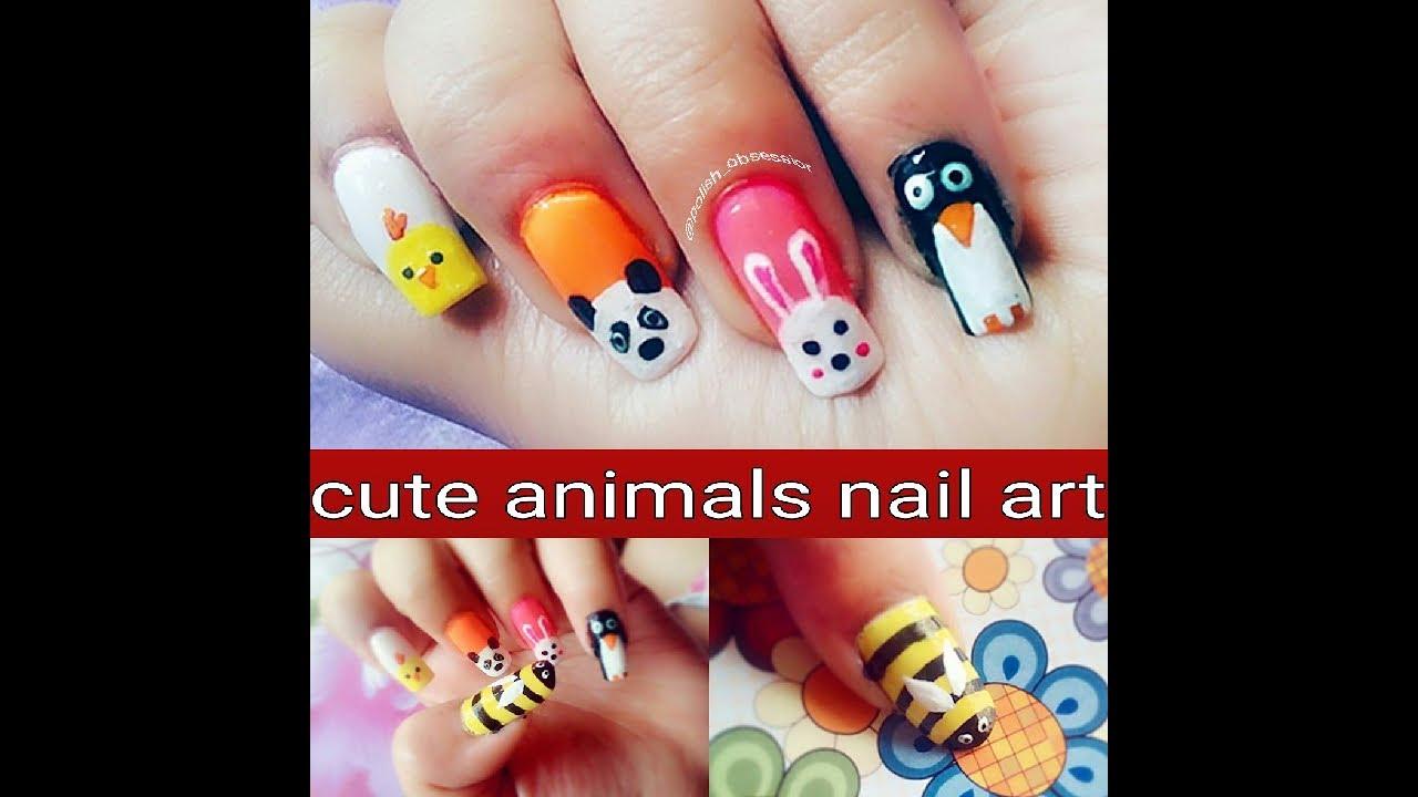 Simple Cute Animal Nail Art Youtube