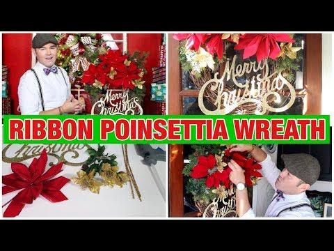 Christmas DIY/ Ribbon Poinsettia Wreath Tutorial / Budget Christmas Decor