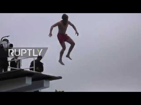 Norway: 'Death diving' belly-flop championship makes a splash in Oslo