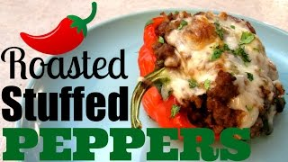 Roasted Stuffed Peppers - Sausage with Cajun Rice and Beans - PoorMansGourmet