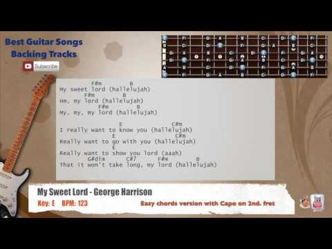 My Sweet Lord - George Harrison Guitar Backing Track with scale, chords and lyrics