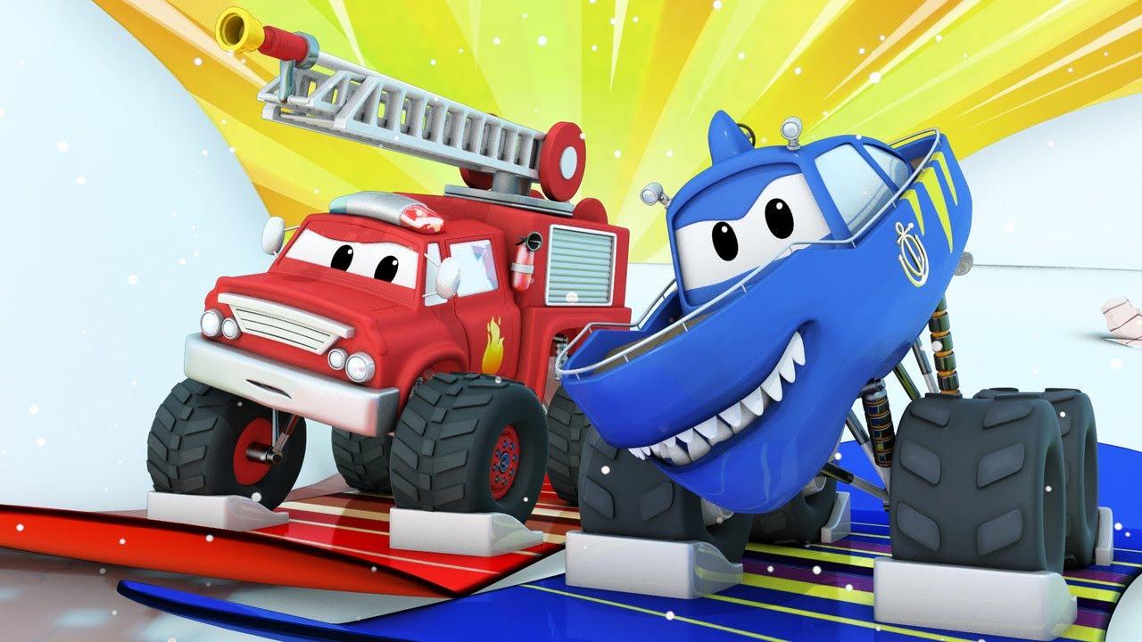 Детские мультфильмы с грузовиками -Детские мультики с грузовиками - ЗИМА - Спасатель на сноуборде