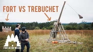 HUGE Backyard DIY Trebuchet Project - Test Fire - Destroy Fort - Fort in the Woods