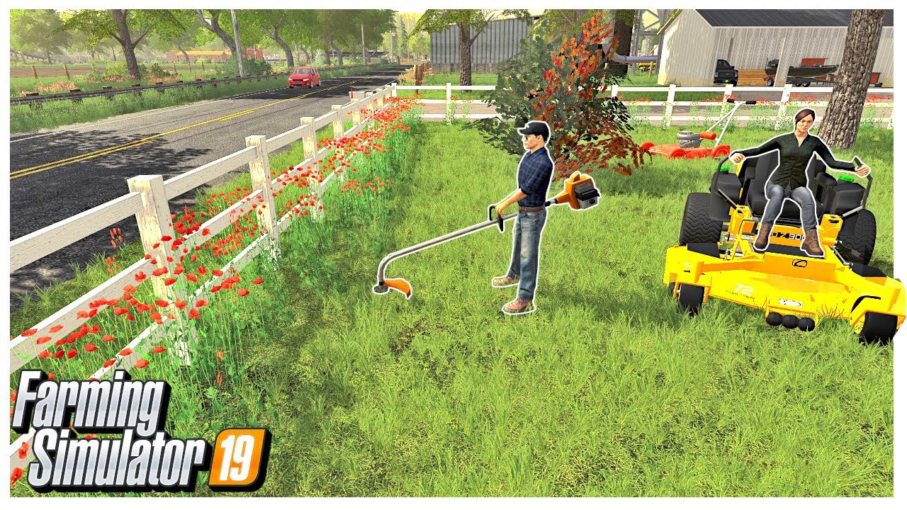 FARM YARD MOWING AND WEED WHACKING | Georgetown Roleplay | Farming Simulator 19