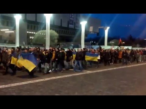 Ukraine War - Local residents rally against Russian intervention in Kharkiv Ukraine