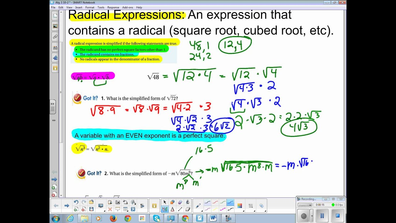 Algebra 1 Chapter 10 Section 2 Radical Expressions YouTube – Operations with Radical Expressions Worksheet Answers