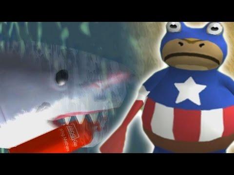 MEGALODON VS CAPTAIN AMERICA! | The Amazing Frog Gameplay (HOW TO KILL MEGALODON)
