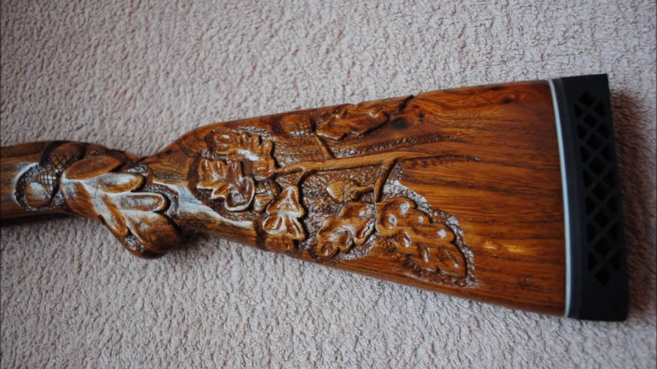 Wood carving engraving a year old yugoslavian m rifle