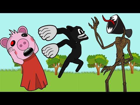 Cartoon Cat saves Piggy from Siren Head - Roblox Piggy Animation - GV Studio