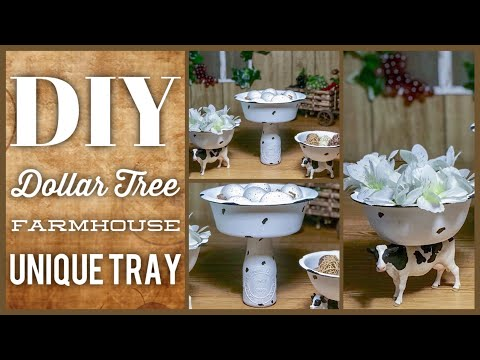 DIY Farmhouse Enamel Unique 3 Tier Tray - Cow Farmhouse Rustic Decor - Dollar Tree Tiered Bowl Set