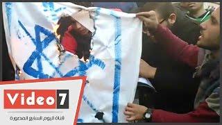 بالفيديو..حرق العلم الإسرائيلى خلال إحياء الذكرى الثلاثين لإستشهاد سليمان خاطر