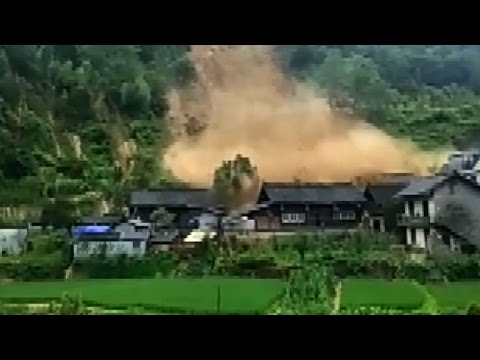 Houses Demolished By Thundering Mudslide In China's Hunan Province