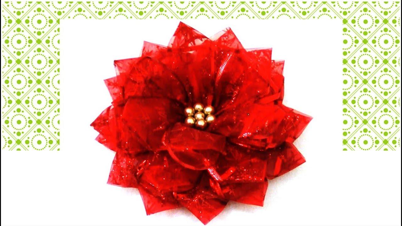Flores De Navidad En Cintas De Organza Christmas Flowers In Organza Ribbons Youtube