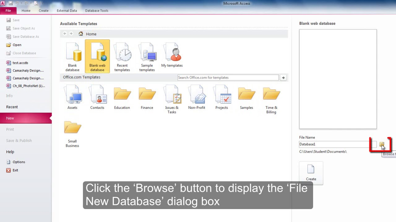 how to create a webservice to access a database